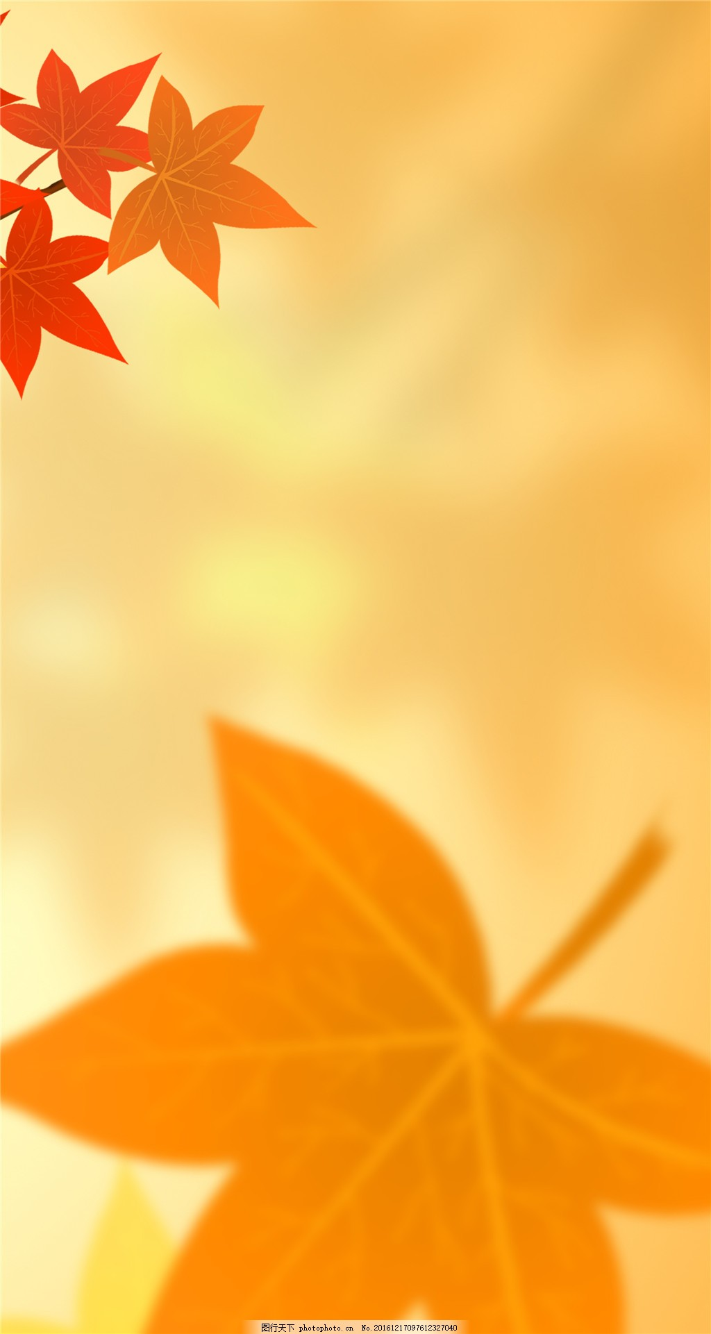 暖色调枫叶清新装饰画
