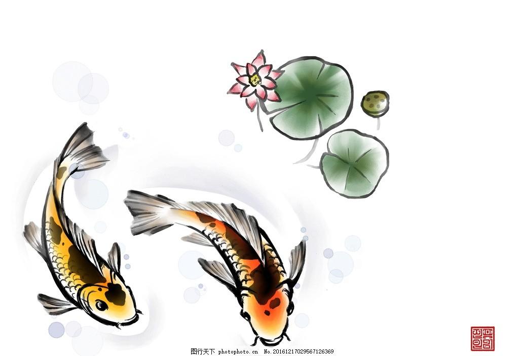 水墨中国风素材 背景 绘画 鲤鱼 荷花