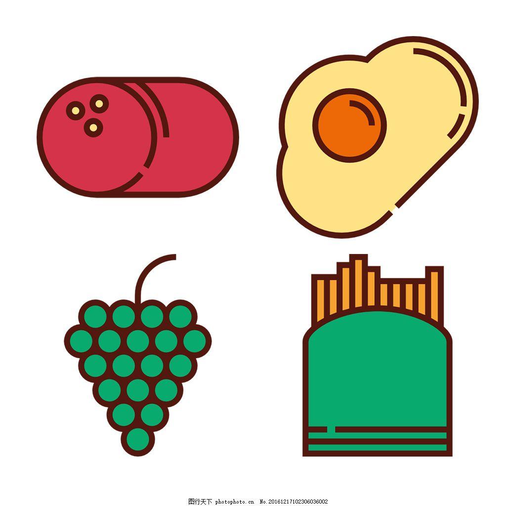 食品 线性 扁平 手绘 单色 多色 简约 精美 可爱 方正 图标 icon 薯条
