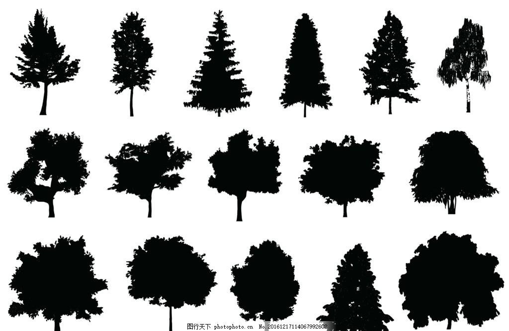 矢量树 轮廓 各种 树冠 杨树 标志图标 其他图标