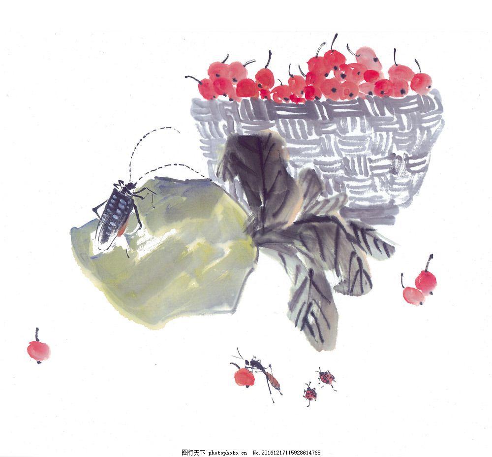 国画樱桃图片素材 国画樱桃 水墨画 名画 国画 中国画 绘画艺术 装饰