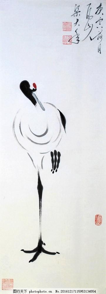 国画仙鹤绘画 国画仙鹤绘画图片素材 水墨仙鹤 花鸟画 水墨画 名画