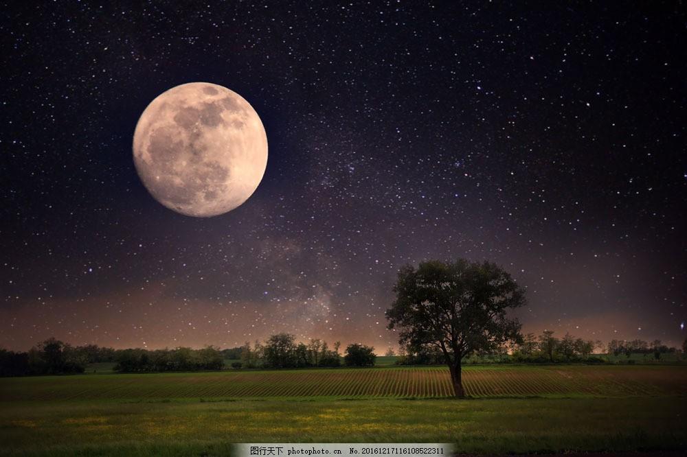 田园与圆月 田园与圆月图片素材 月亮 星空 天空 田园夜景 月球