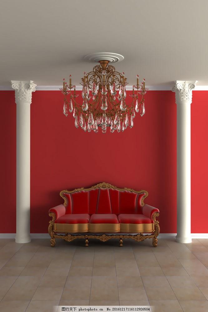 欧式红色沙发图片
