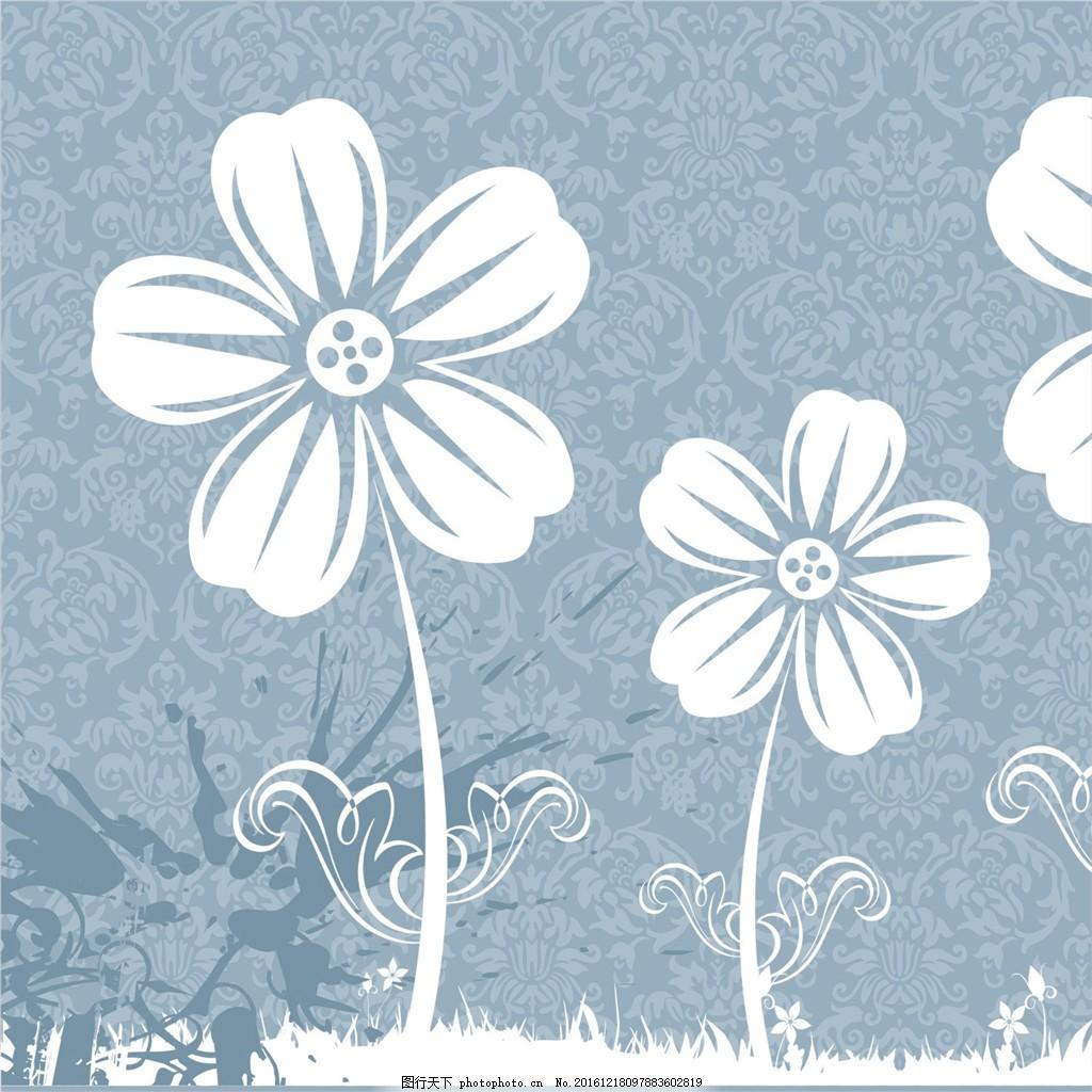 素雅净白小花装饰画