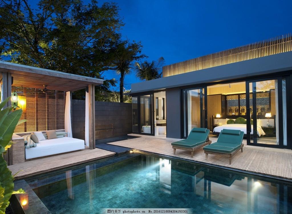 巴厘岛w度假酒店 泳池别墅 私人泳池 豪华泳池 休闲躺椅 阳光躺椅 园