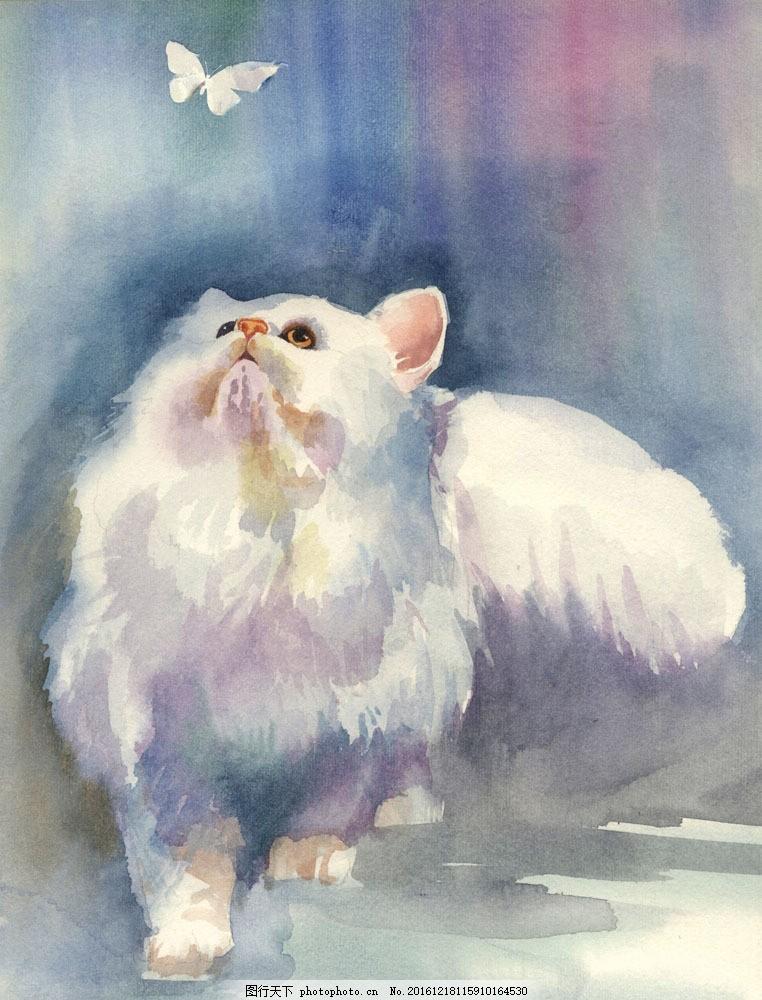 油画猫 油画猫图片素材 艺术 文化 绘画 手绘 宠物 白色波斯猫