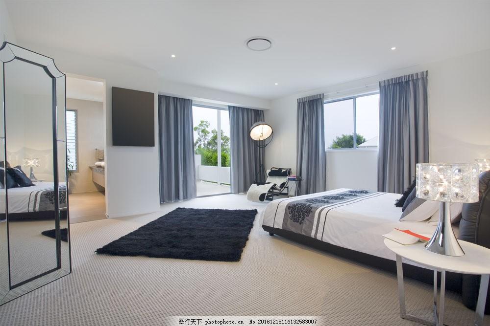 明亮灰色卧室效果图 明亮灰色卧室效果图图片素材 大床 台灯 时尚家具