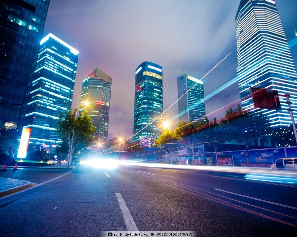 高楼与灯光 高楼与灯光图片素材 夜景 城市 夜晚 道路 街道 城市风光