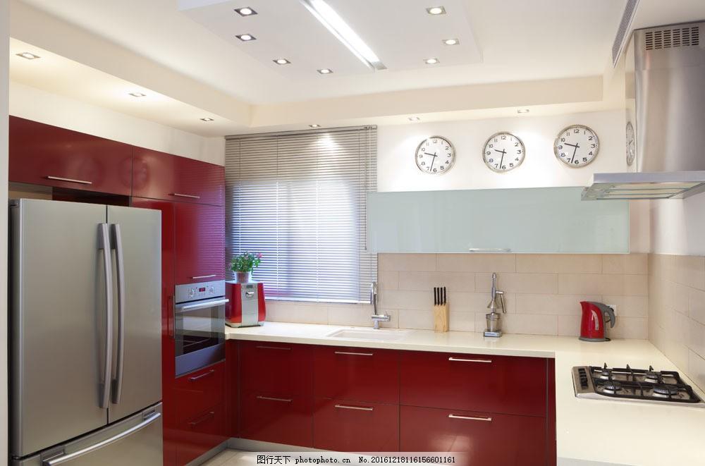 红色经典橱柜效果图 红色经典橱柜效果图图片素材 现代橱房 橱房室