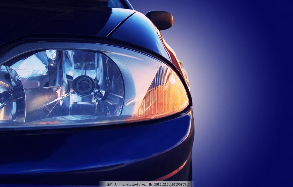 蓝色酷炫车灯图片素材 酷炫车灯 轿车 小车 车辆 汽车图片 现代科技