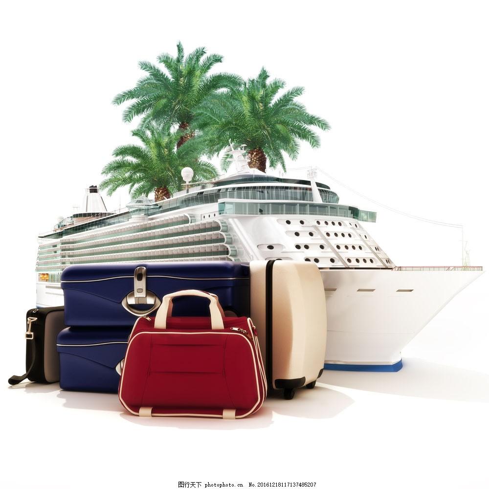 卡通轮船与旅行箱图片