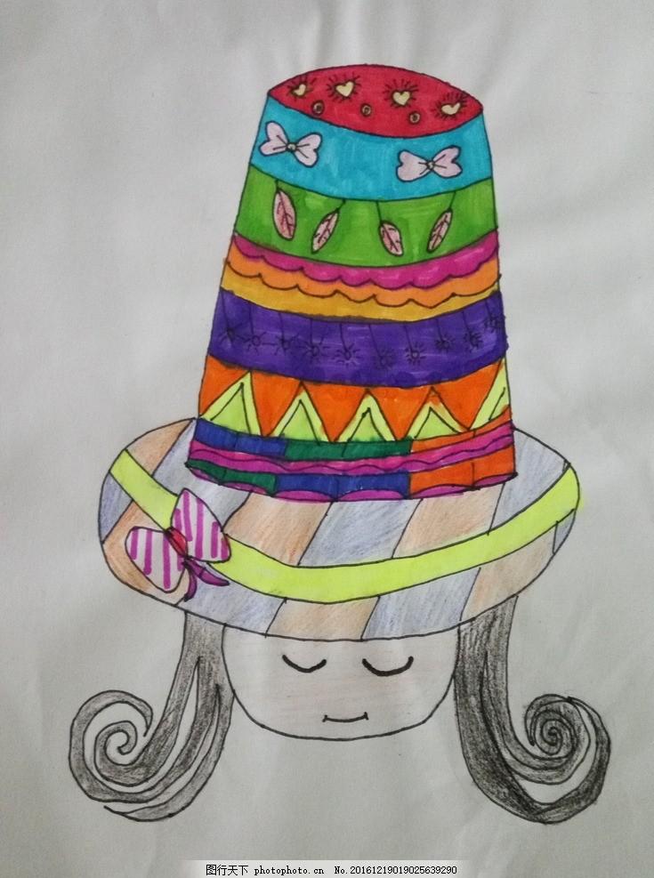 帽子 女孩 儿童 线描 水彩 装饰 绘画 摄影 文化艺术 美术绘画 72dpi