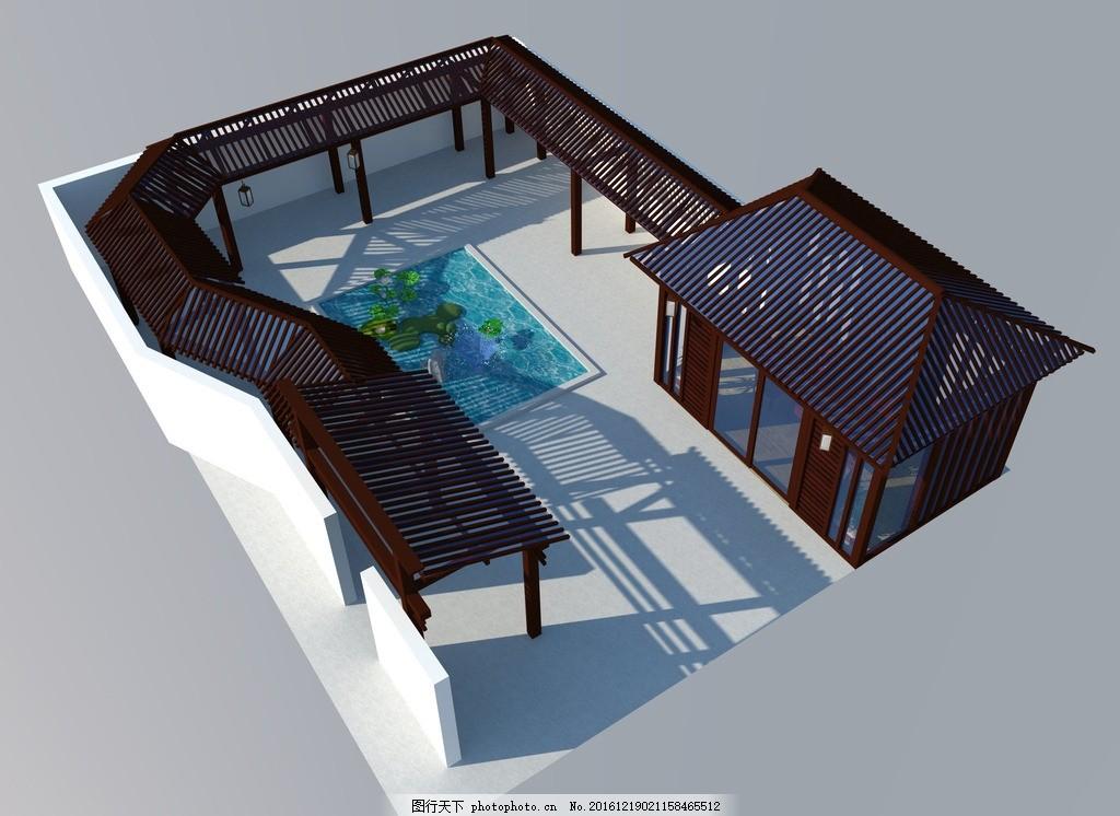 庭院设计 景观设计 别墅庭院 廊架 阳光房 别墅院子