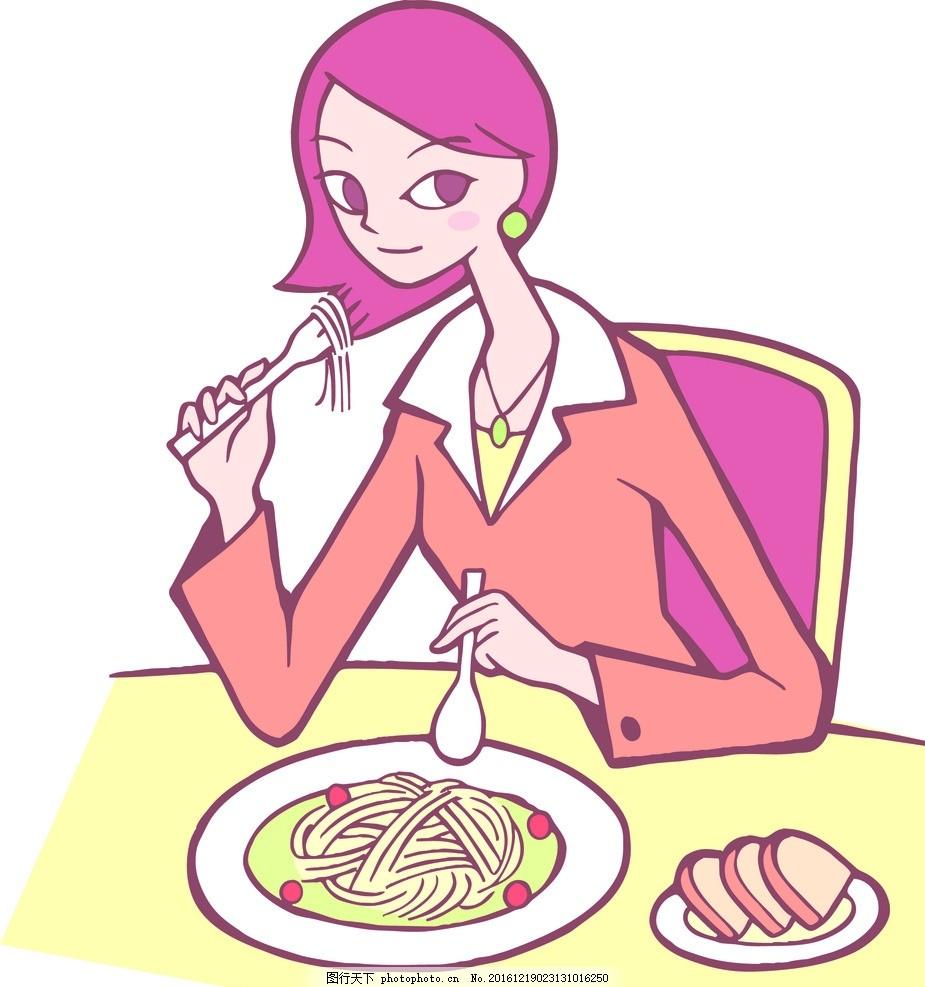 女性素描 女性 女人 白领 上班族 早餐 美食 简笔画 人物 素描 绘画