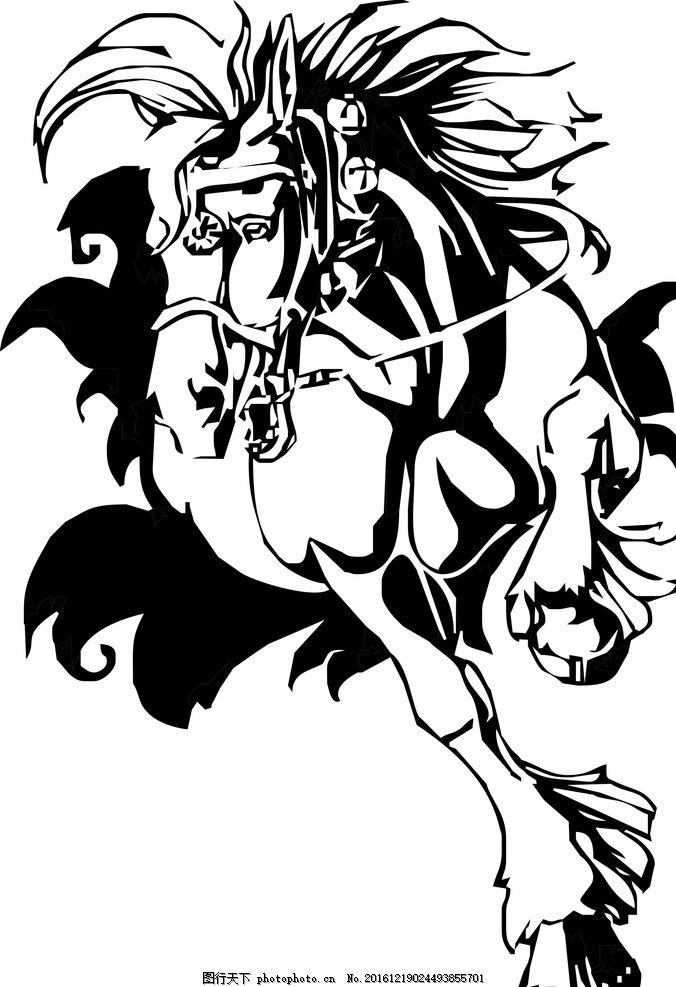马 奔腾的马 黑白 矢量图 骏马 设计 动物 动植物 设计 生物世界 野生