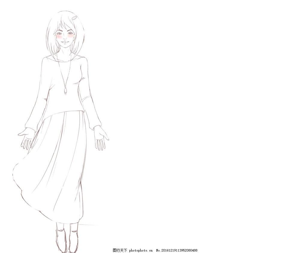 少女人设造型 手绘 手稿 人物 线稿 动漫人物 动漫动画