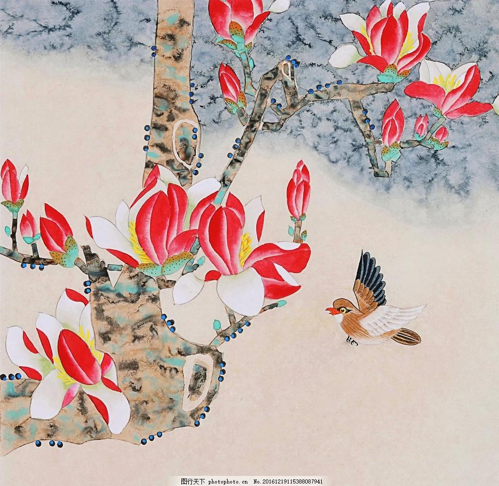 工笔画 国画 玉兰花 鸟 花卉 水彩 素材 花卉 设计 文化艺术 绘画书法