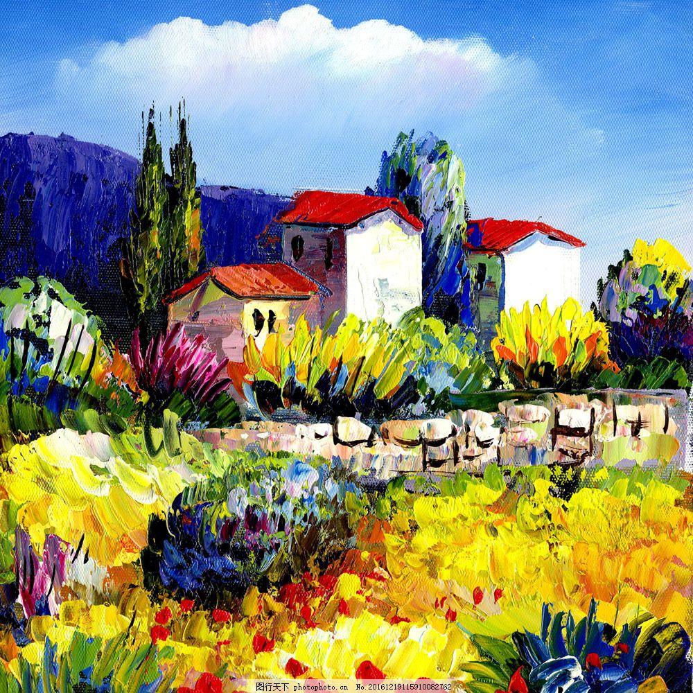 房子风景油画 房子风景油画图片素材 风景写生 抽象画 印象派油画