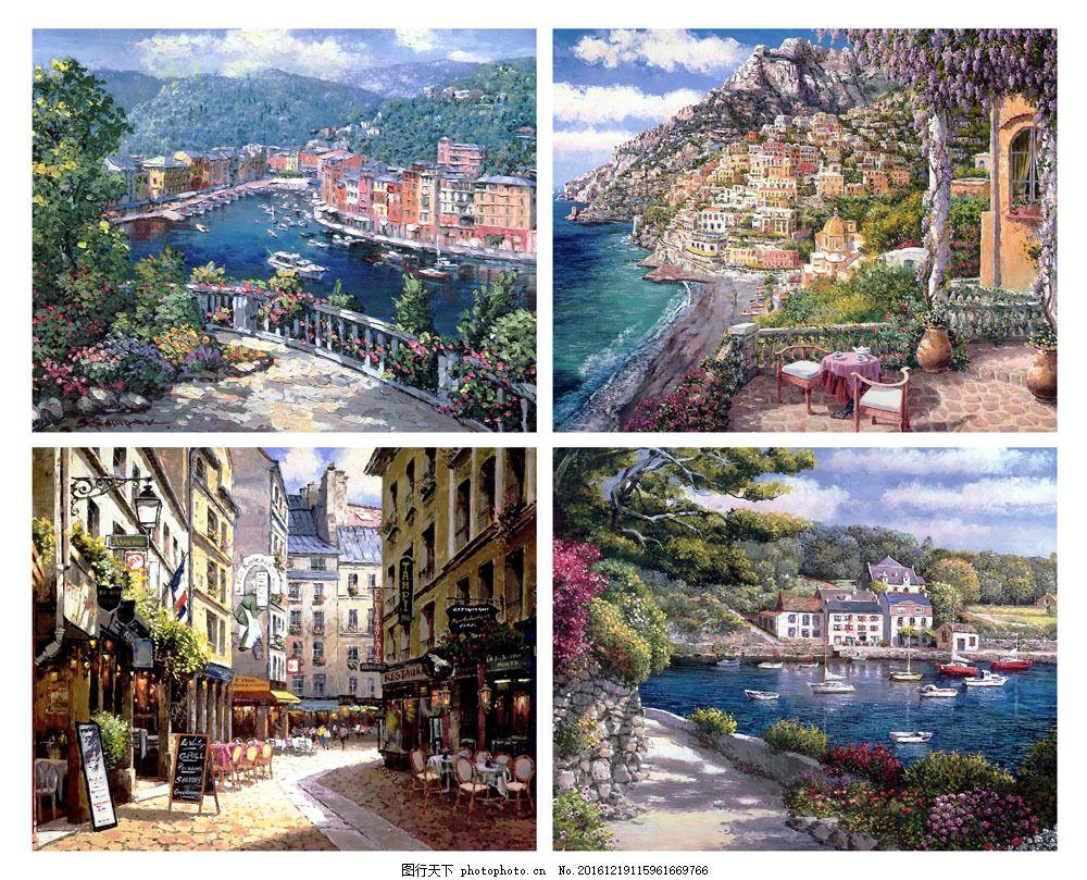 无框城市风景画图片