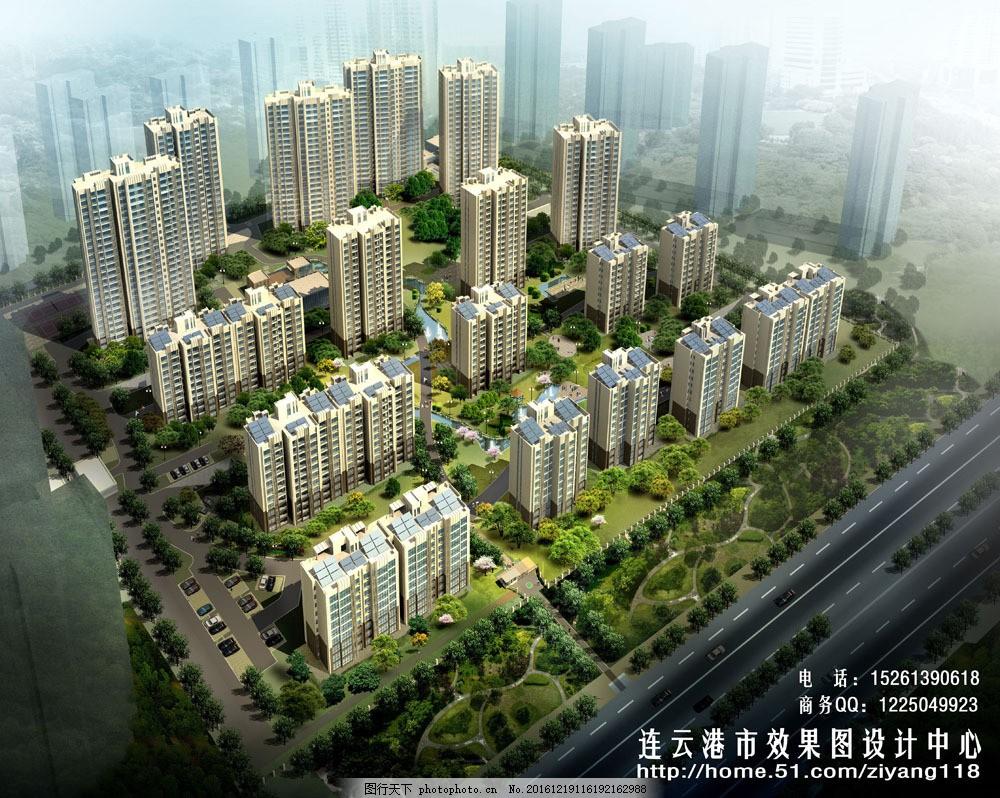 小区建筑鸟瞰图片