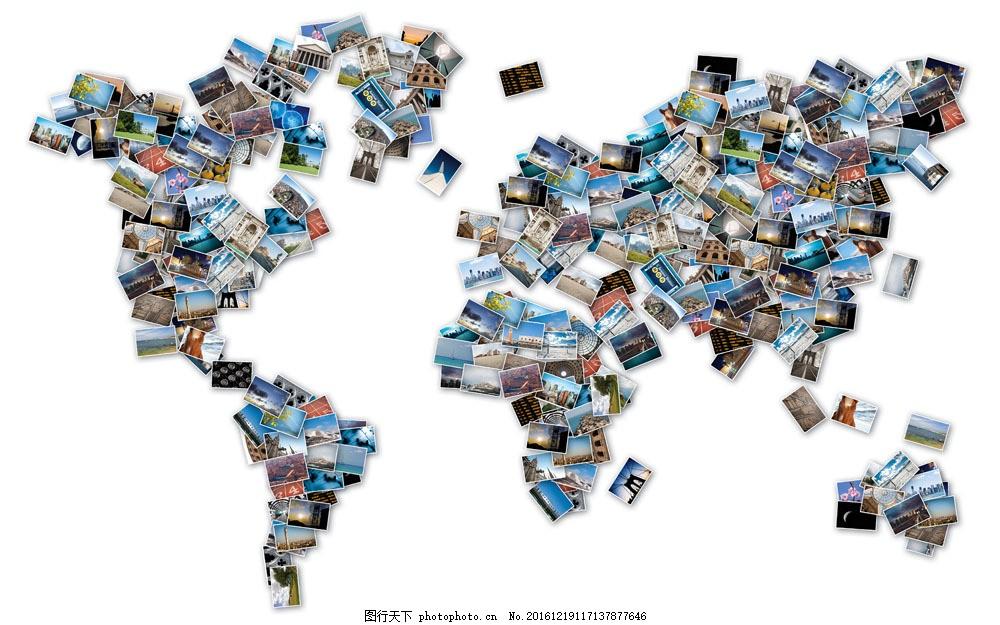 旅游照片拼成的世界地图图片