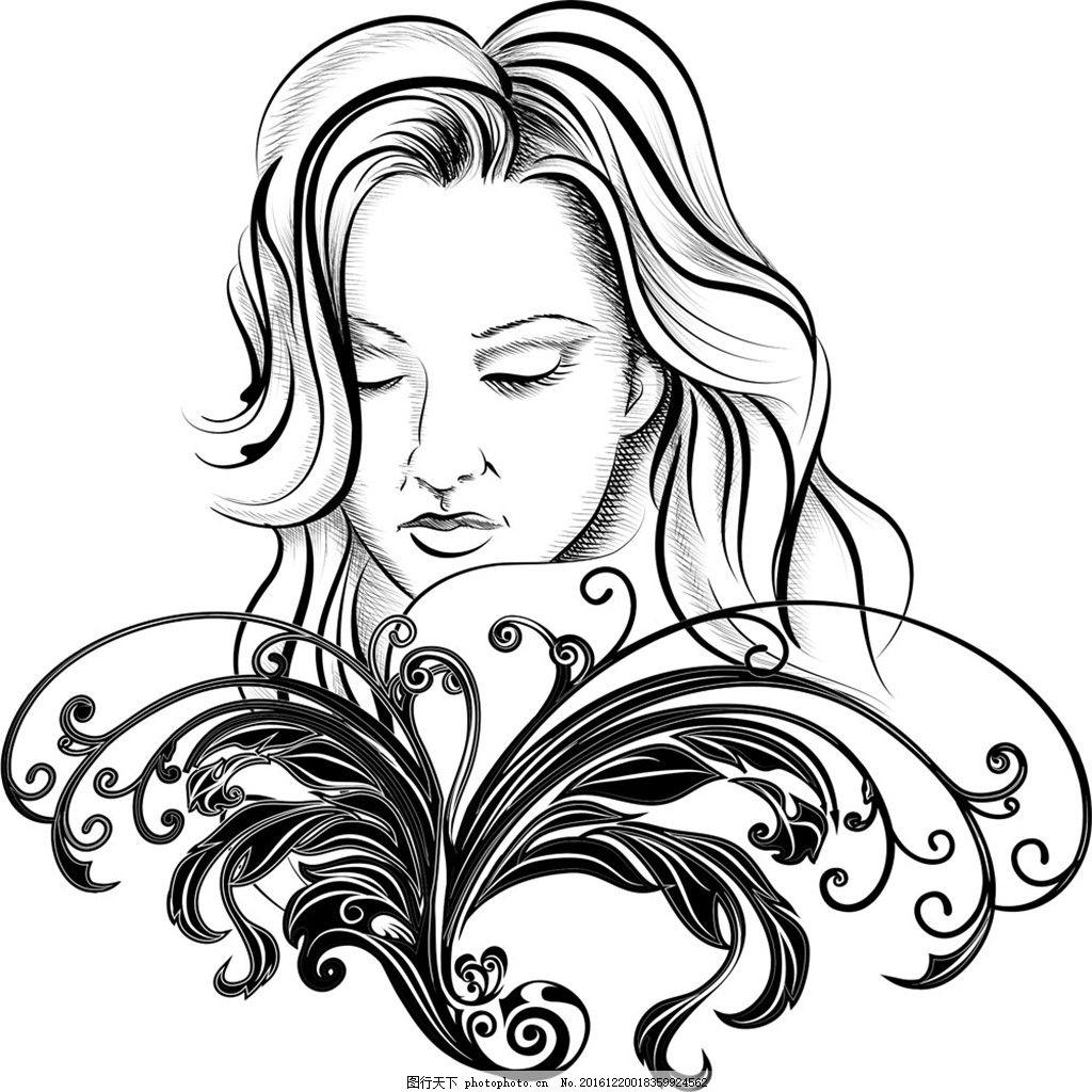 时尚手绘女孩 绘画 模特 女孩剪影 时尚手绘美女 矢量素材 手绘美女