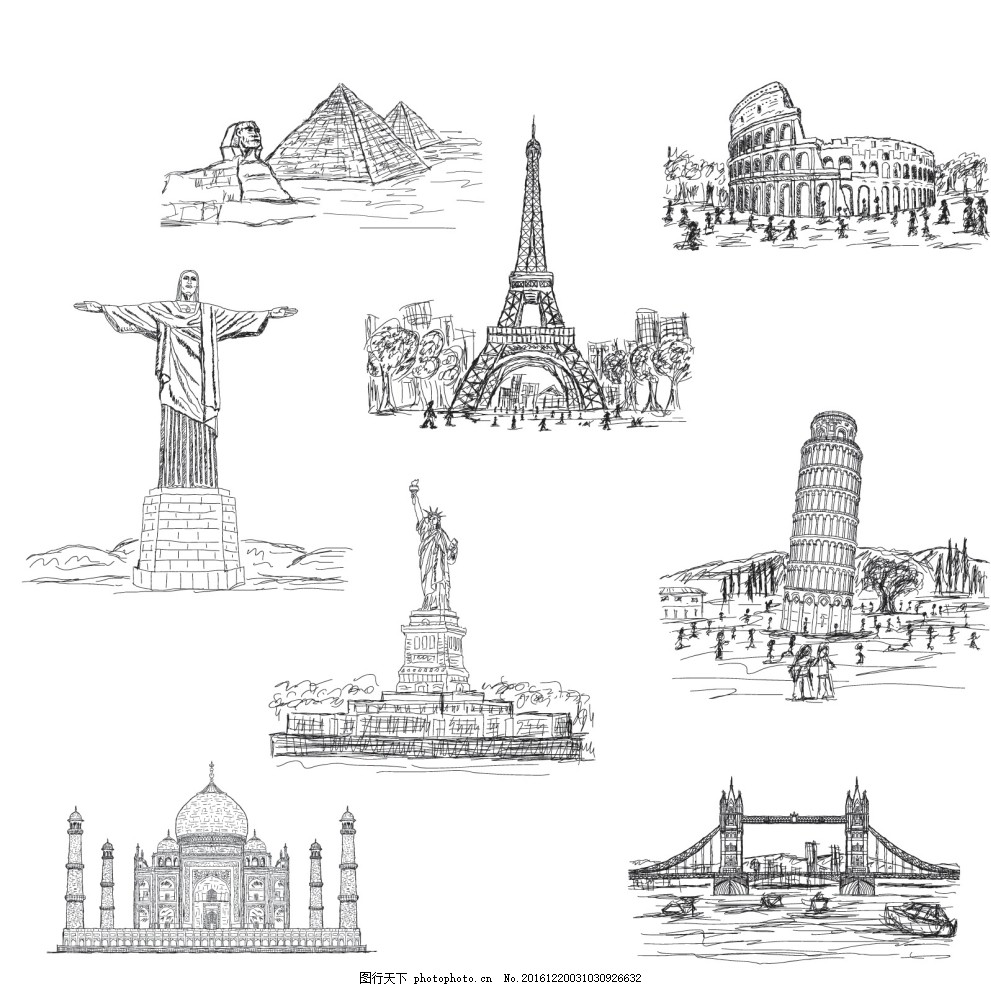 世界建筑矢量 黑白 金字塔 黑白线条图