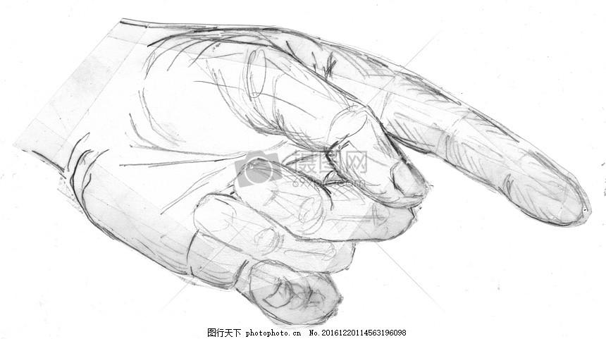 素描手 手 显示 食指 拇指 手指 素描 绘图 铅笔素描 黑与白 手绘