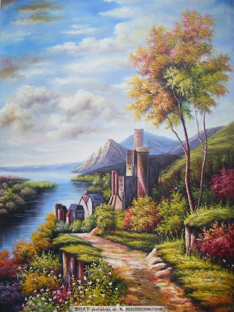 古堡风景油画图片