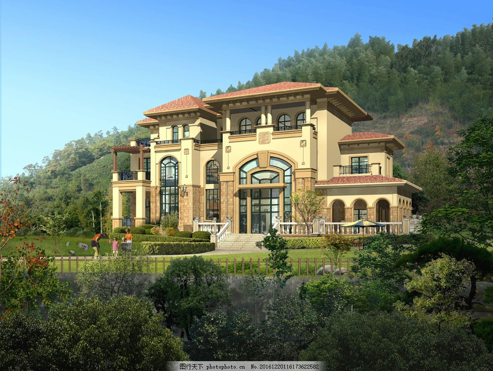 欧式别墅景观设计图片素材 别墅建筑设计 欧式别墅 透视图 建筑规划