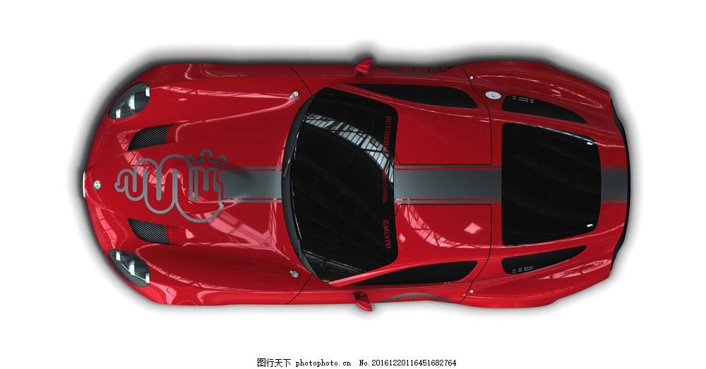 红色跑车俯视图图片素材 跑车 轿车 汽车 工业生产 小车 交通工具