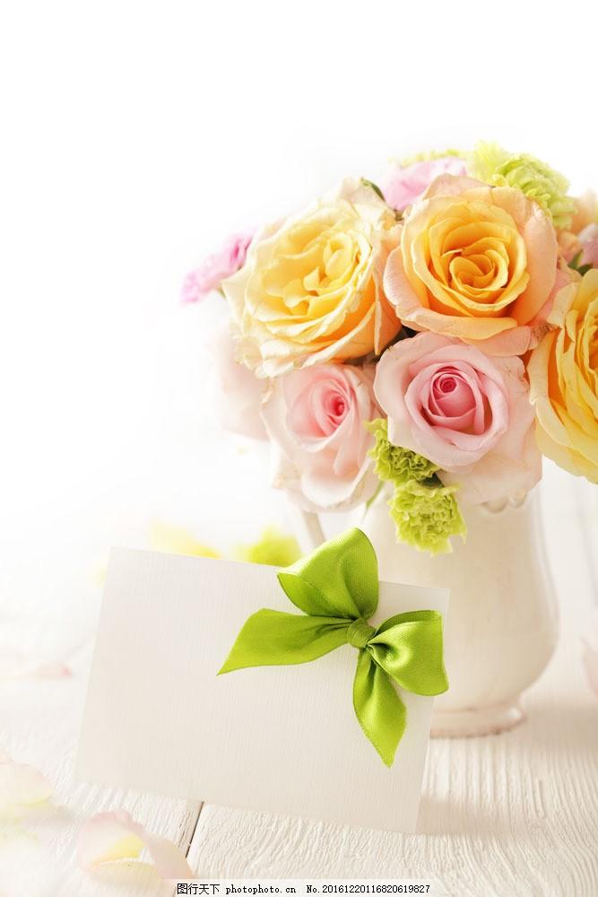 贺卡与花瓶 贺卡与花瓶图片素材 蝴蝶结 鲜艳花朵 美丽鲜花 漂亮花朵