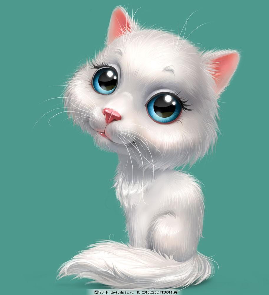 3d白色小猫 立体小猫 立体动物 陆地动物 动物世界 卡通动物