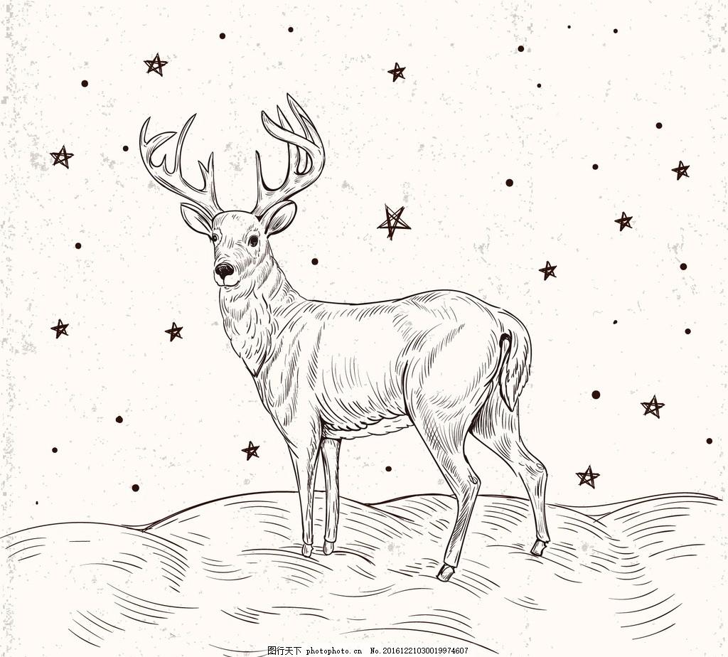 麋鹿简笔画手绘矢量图