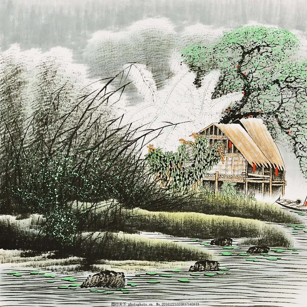 写意风景 写意画 风景 房子 树 河流 山河 设计 其他 图片素材 96dpi