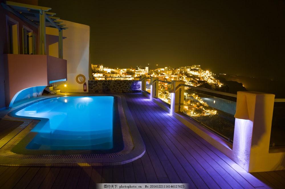别墅游泳池 别墅游泳池图片素材 泳池风景 美丽风景 水池 阳台