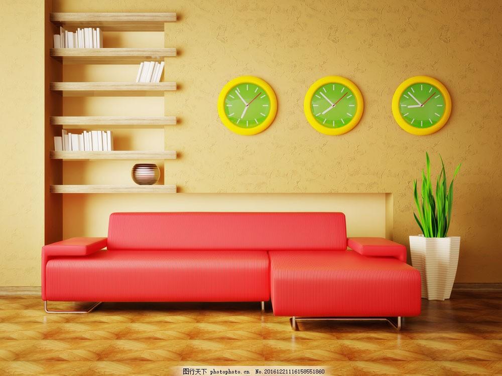 客厅红色沙发设计图片素材      画框 台灯 沙发 装修 装饰 室内设计