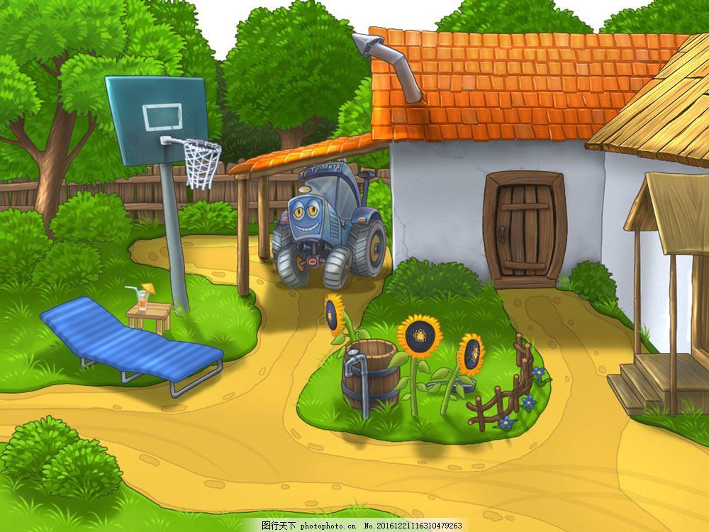 高清素材 自然风景  室外卡通风景图片素材 乡村 室外 大树 绿树 小路