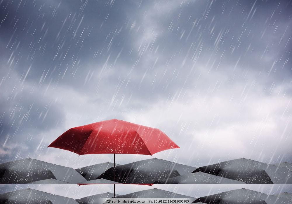 雨中的伞 雨中的伞图片素材 红伞 黑伞 大雨 淋雨 下雨 雨天