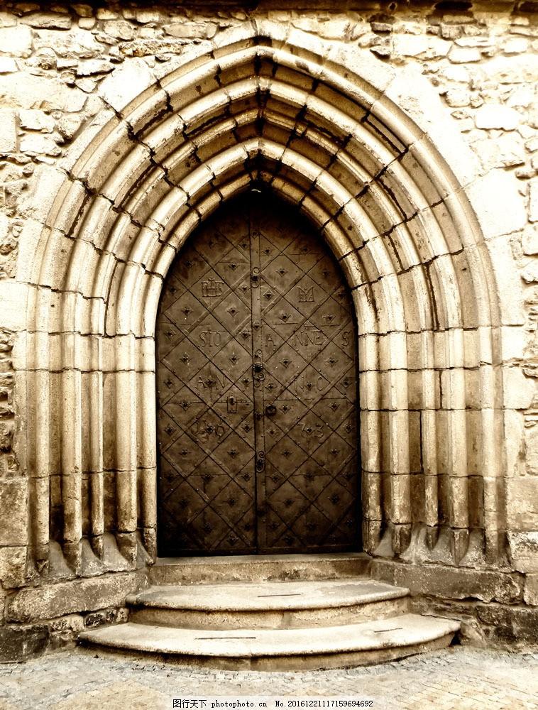 哥特式门 哥特式门图片素材 哥特式建筑 怀旧门 铁门 大门 其他类别图片
