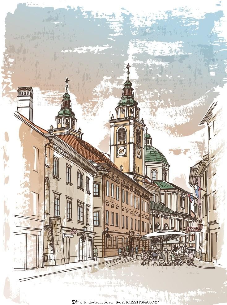 手绘装修 装修海报 手绘建筑 欧洲建筑 素描 线描 绘画书法 建筑园林