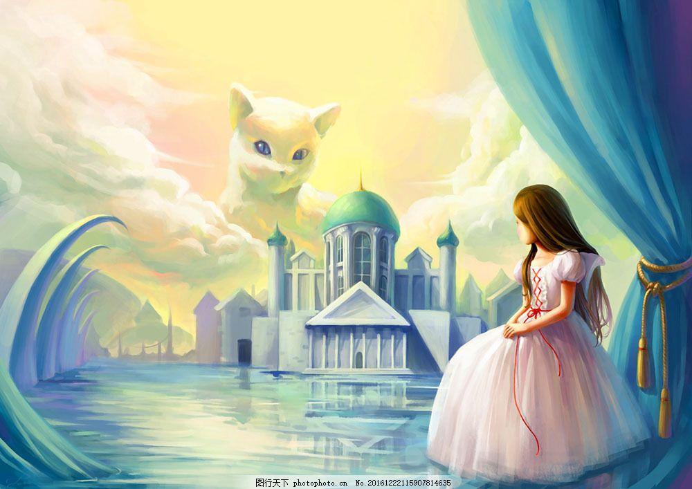 童话故事背景图片素材 女孩 油画 装饰画 手绘 插画 素描 无框画 底纹