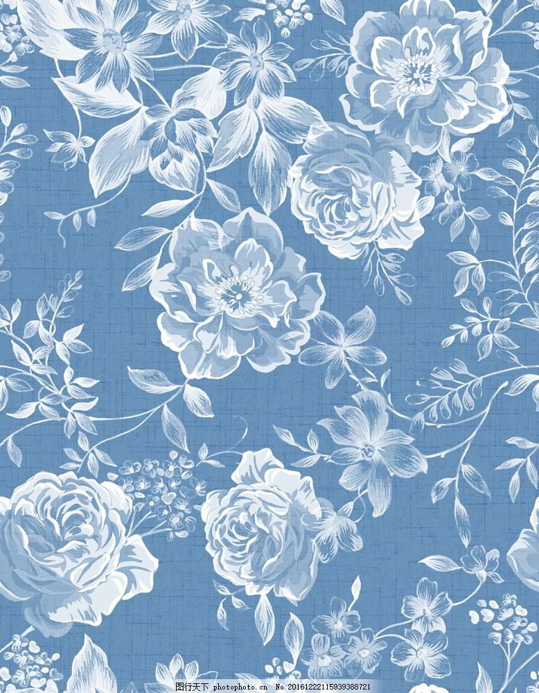 蓝色背景花朵图片素材 蓝色背景花朵 鲜花背景 水彩画花朵 水彩鲜花