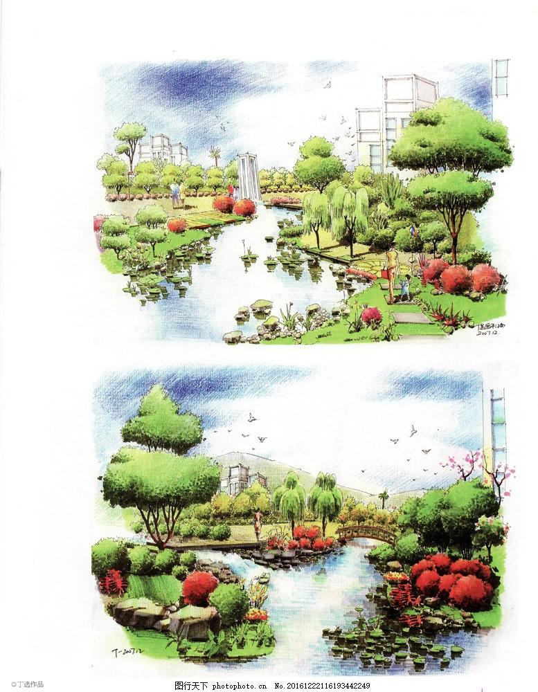 环艺手绘植物平面