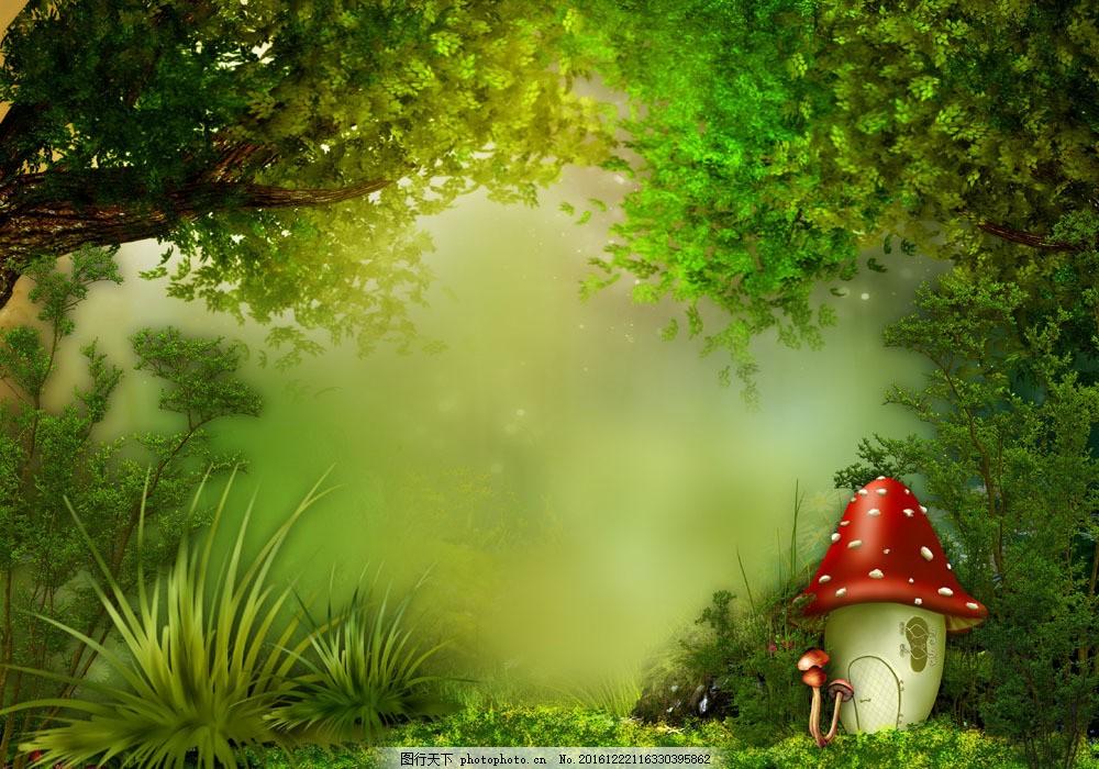 梦幻树林风景与蘑菇图片