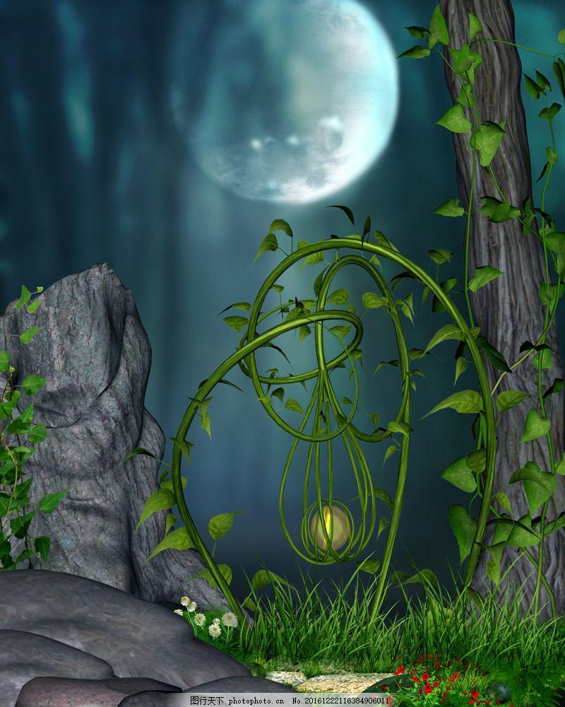 手绘自然风光背景 手绘自然风光背景图片素材 月亮 石头 梦幻背景