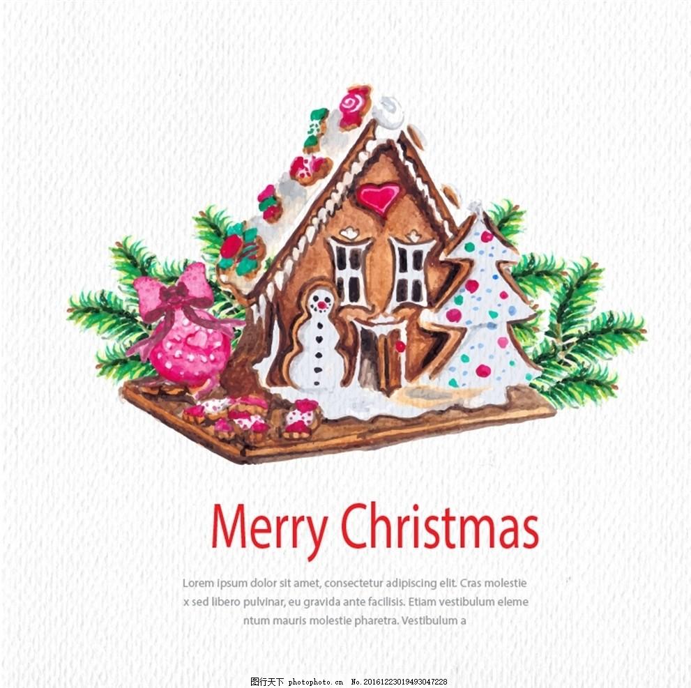 圣诞小房子 圣诞 圣诞节 小房子 雪人 松树 松枝 糖果 蝴蝶结 爱心