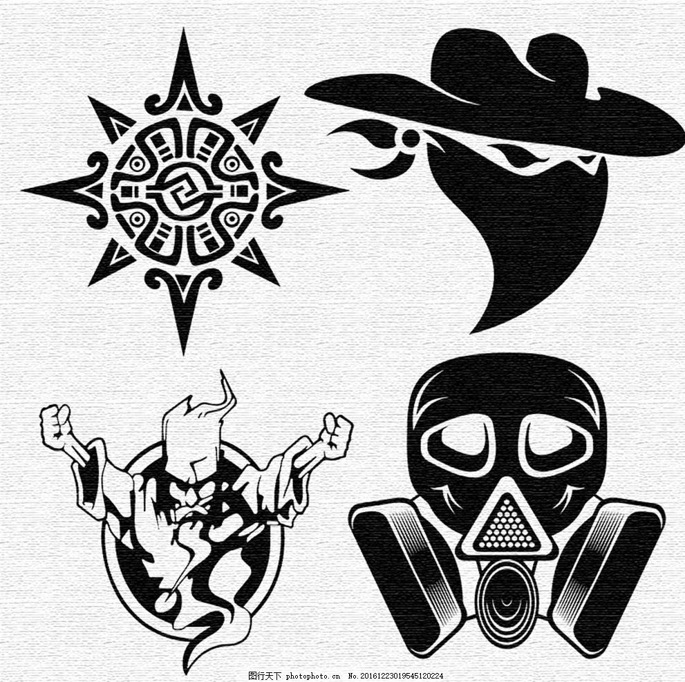 纹身图案 刺青图案 防毒面具 神秘图腾 蒙面贼 老巫师 t恤amp 图案