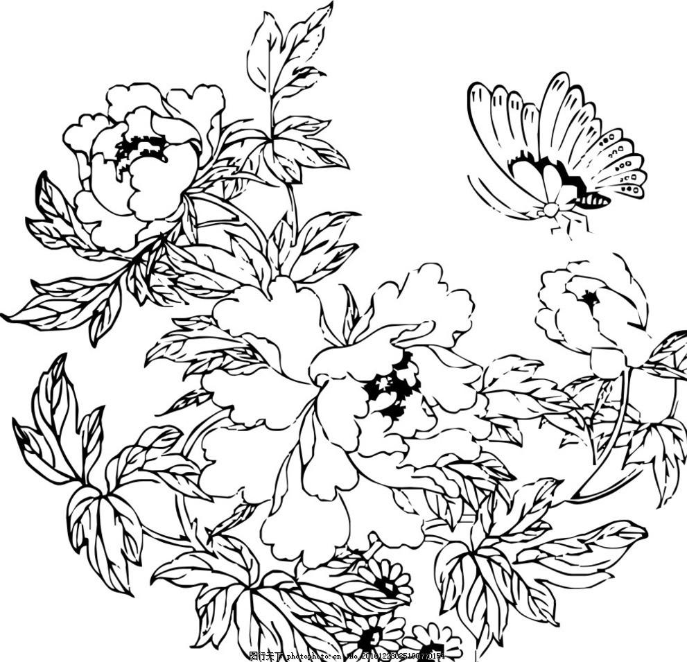 花卉 蝴蝶 玫瑰 黑白 矢量图 手绘 花朵 叶子 动植物